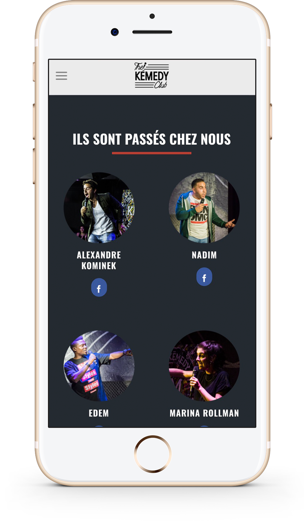 Version mobile du site internet sur mesure du kemedyclub