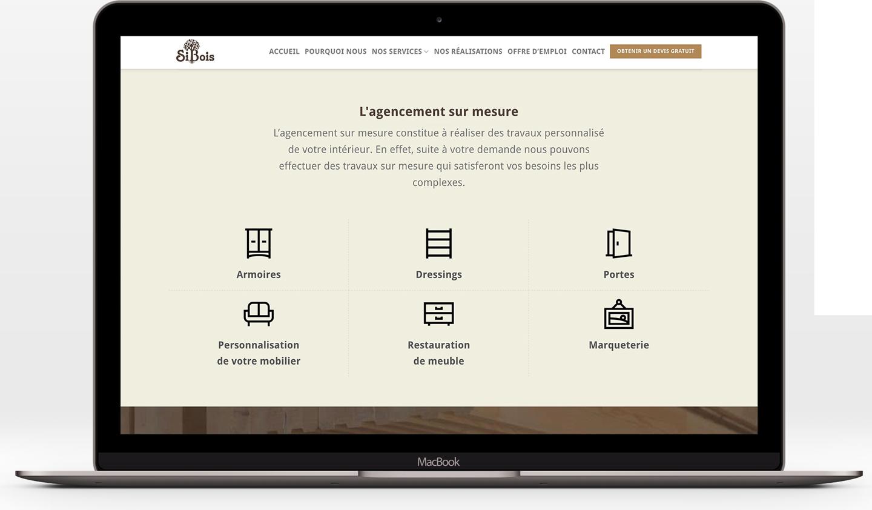 Design de la présentation des services de Sibois Menuiserie
