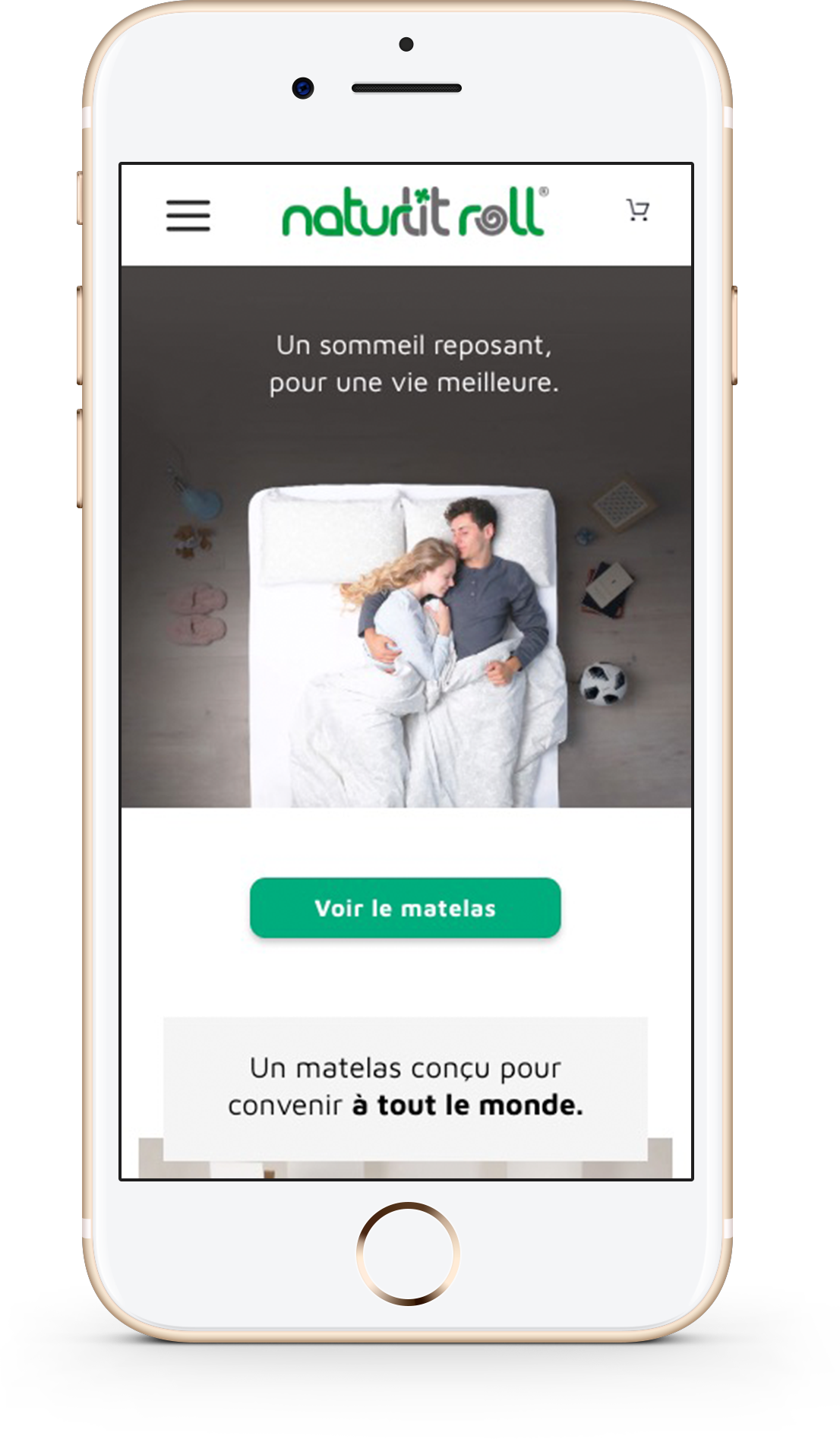 Version mobile du site e-commerce naturlitroll