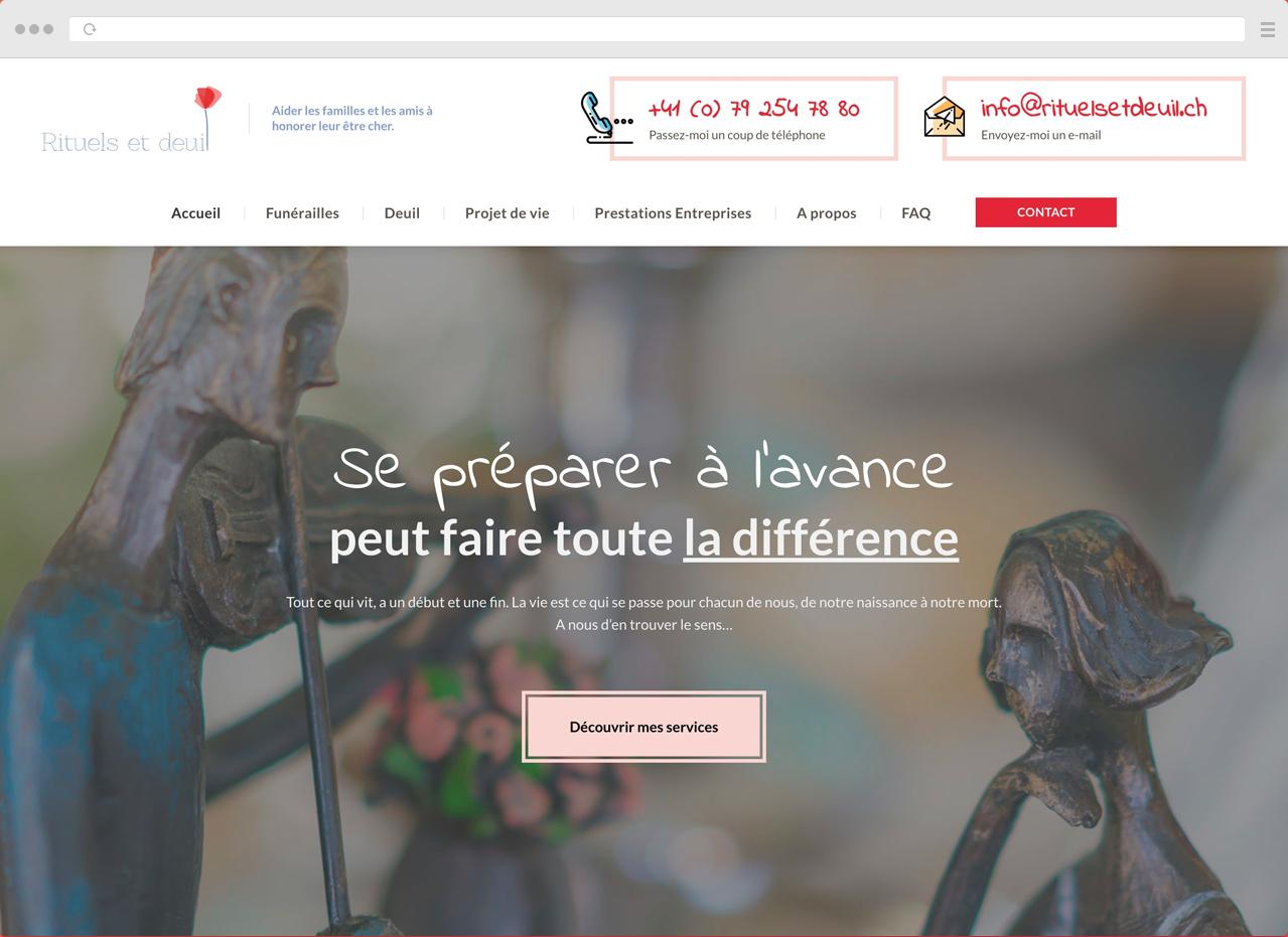 Design UX, Maquette Web pour le site internet de Rituels et Deuil par DigitalEra