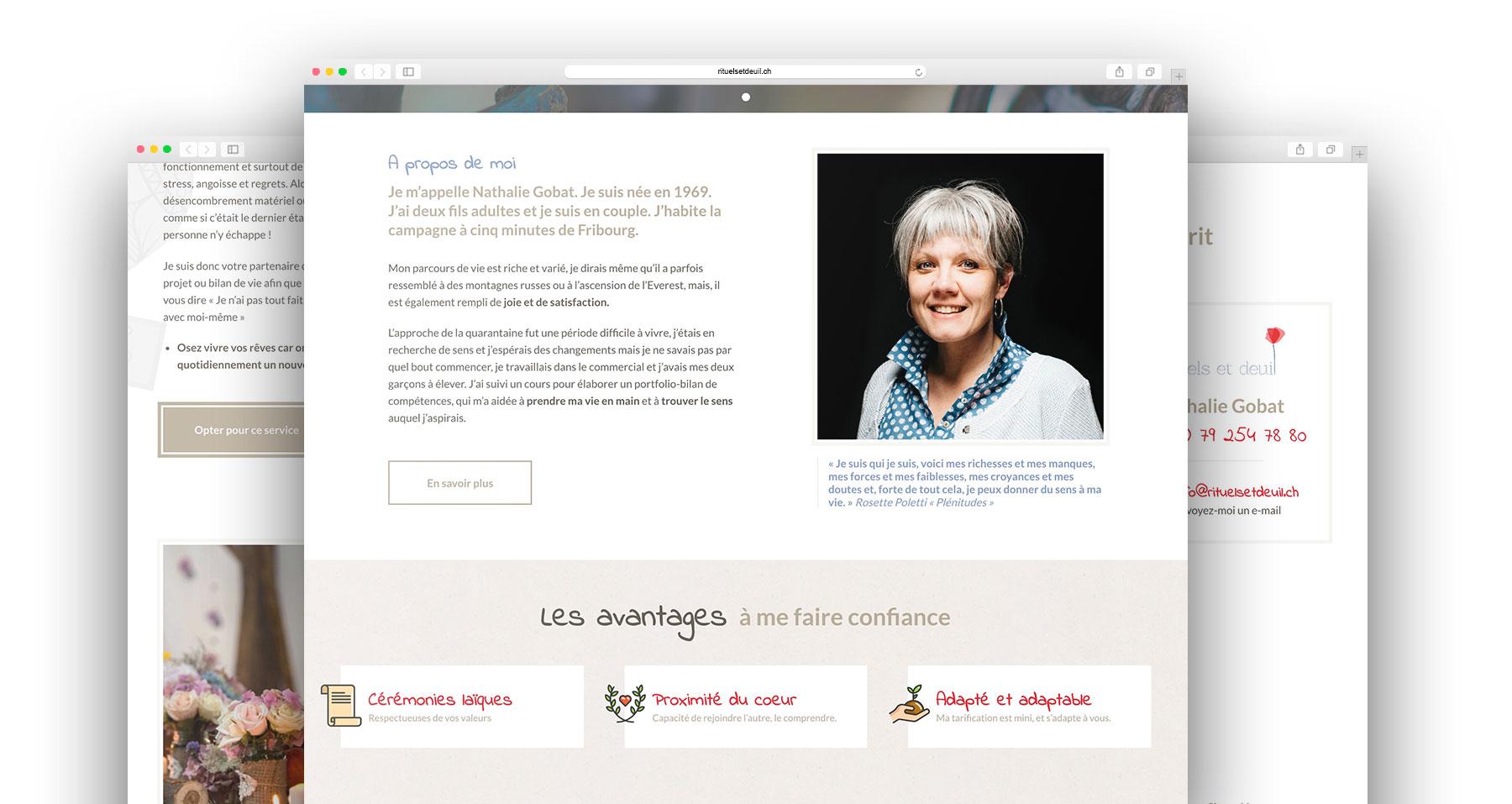 Design de maquettes pour la page d'accueil du site internet professionnel de Rituels et Deuil par DigitalEra