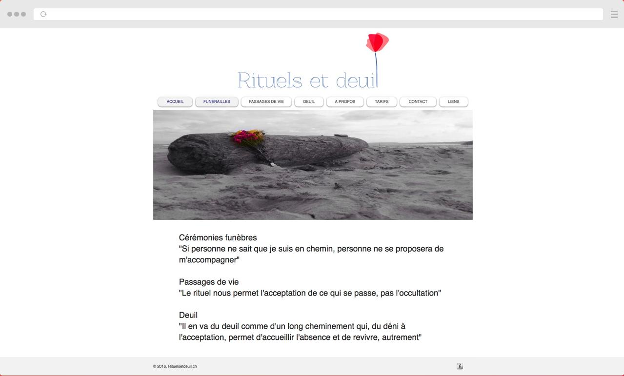 Ancien site de Rituels et Deuil qui a été redesigné par DigitalEra l'Agence Web Suisse