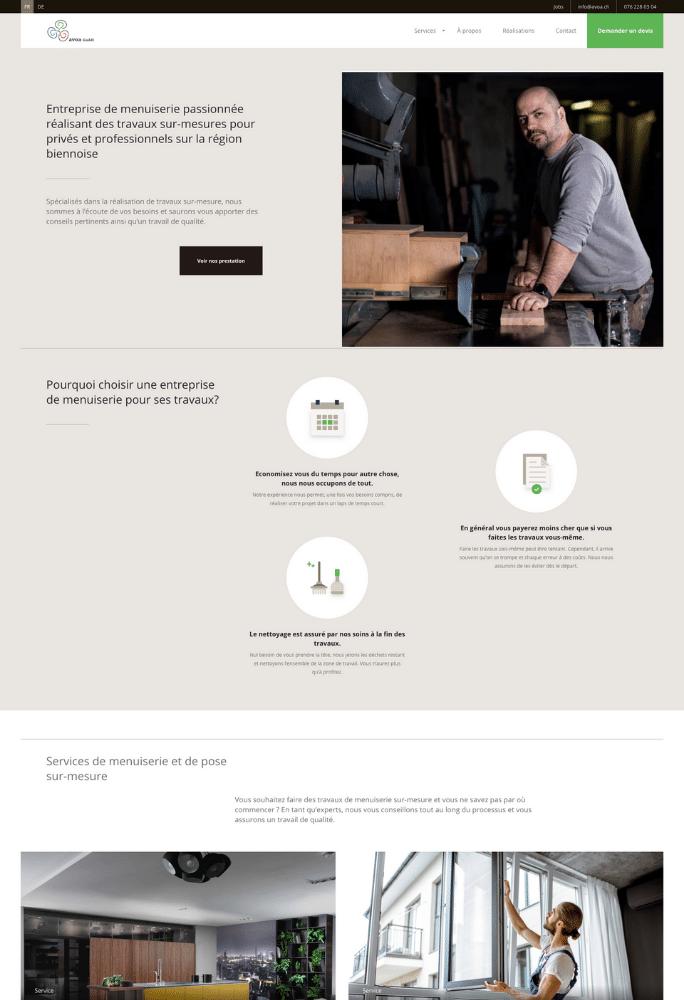 Création du site internet d'une menuiserie